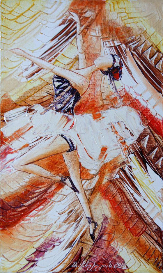 Ballerina 30x50cm, oil painting, ready to hang