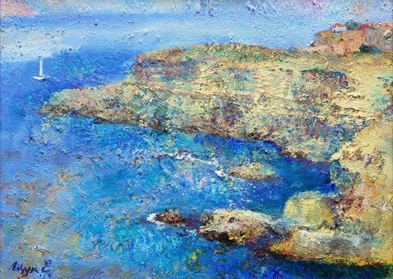 Sea blue and rocks. Picture framed. Original oil painting