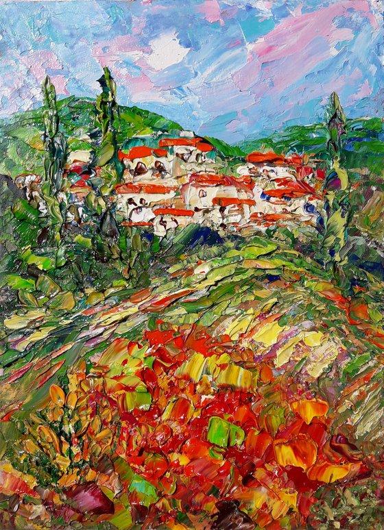 painting Sunny landscapes of Tuscany, Italy