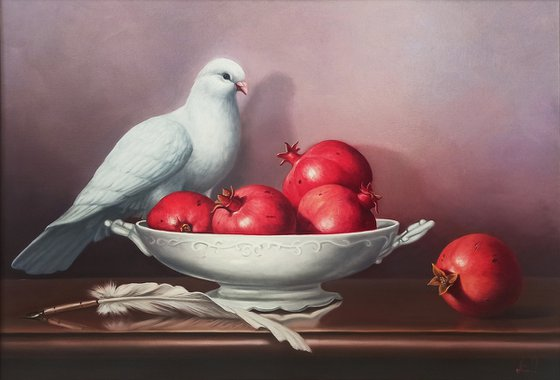 Still life with pomegranates and pigeon (50x70cm, oil painting, ready to hang)