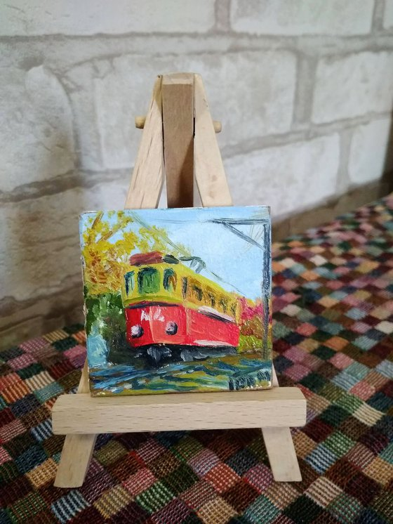 Red streetcar miniature painting