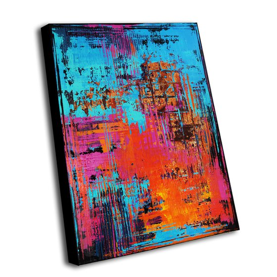 SUMMER PARTY ** COLORFUL ABSTRACT PAINTING ON CANVAS ** 80 x 60 CMS *** READY TO HANG