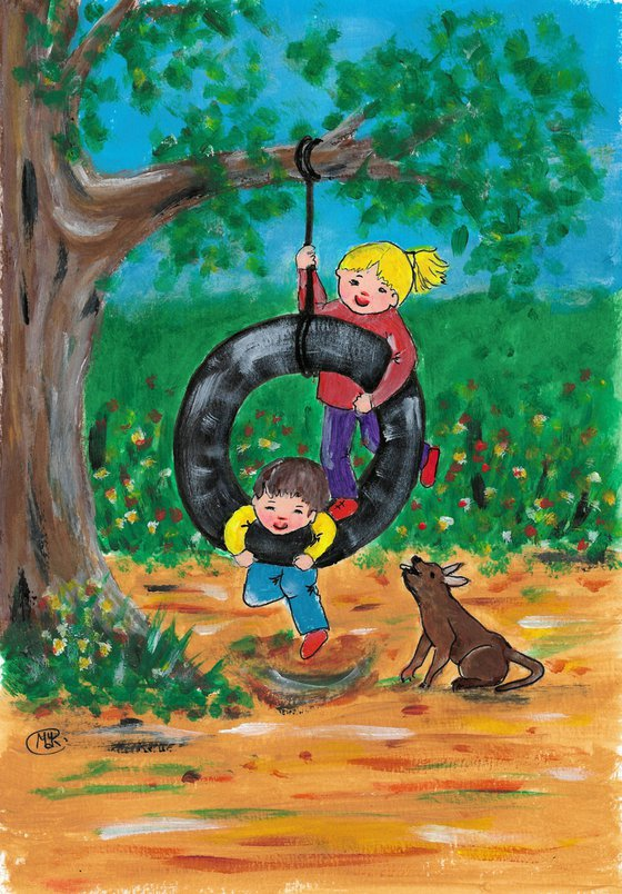 Tire Swing, children at play
