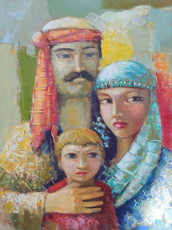 Armenian family (50x70cm, oil/canvas, ready to hang)