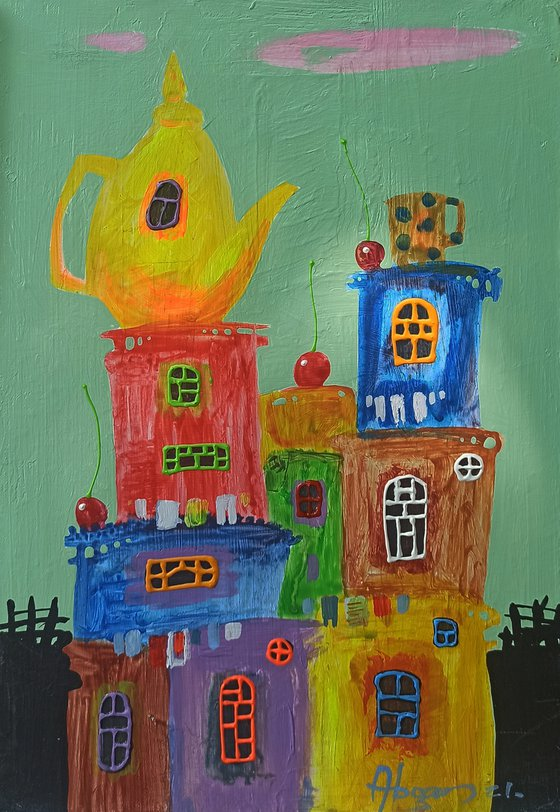 Childhood dreams-20 (30x40cm, oil painting, modern art, ready to hang)
