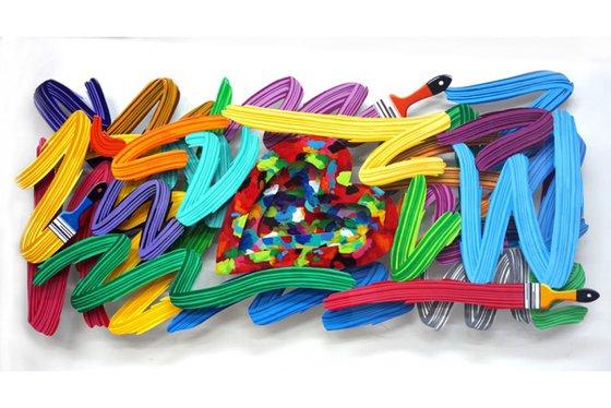 Colorful Brushstroke Pop Art Wall Sculpture