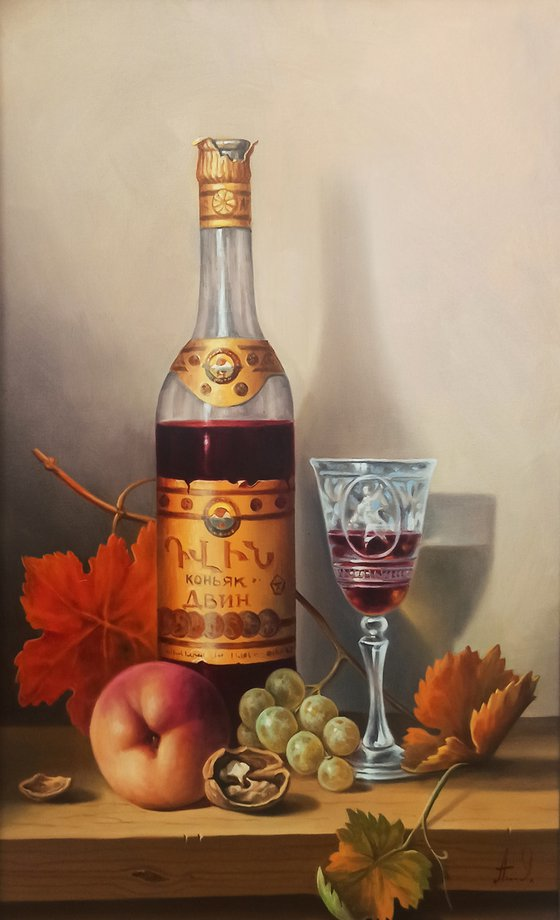 Still life with cup of cognac-3  (40x60cm, oil painting, ready to hang)