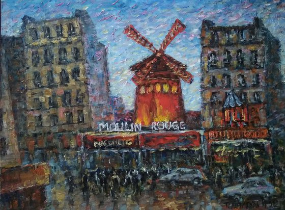 Moulin rouge. Lights of Paris at night