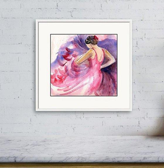 "Spanish Flamenco Dancer Flamenco Frenzy 4 Watercolor (9""x 9.75"" approx)"