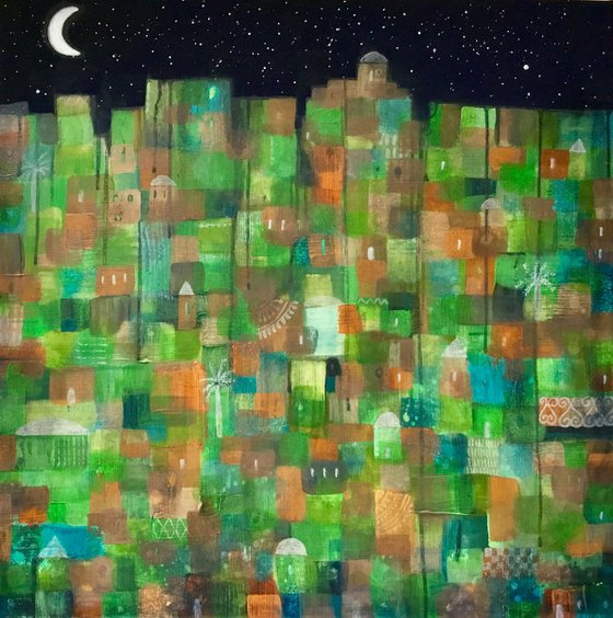 Abstract Painting, Abstract City, large Canvas