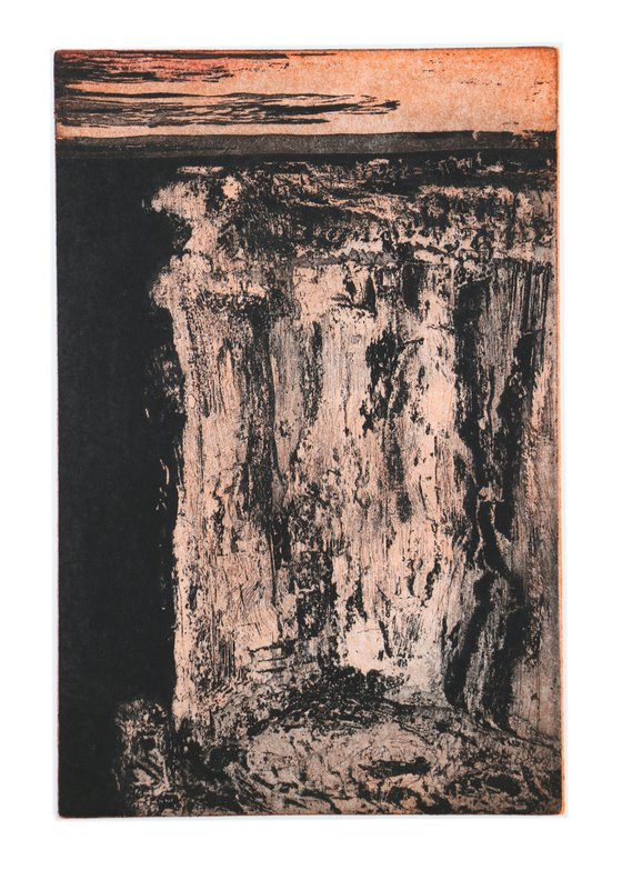 """Heike Roesel """"Cliff Edge"""" fine art etching in variation,  edition of 10"""