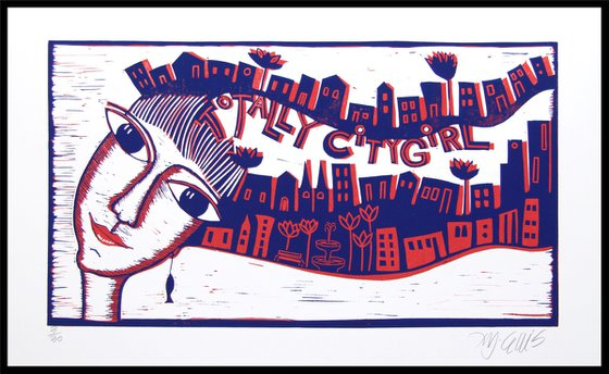 Totally Citygirl, linocut 2 plates