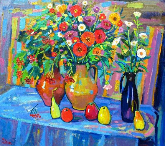 Flowers and viburnum