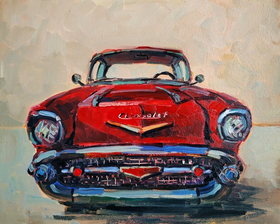 Retro pictures series -1  Old Chevrolet(24x30cm, oil painting, ready to hang)