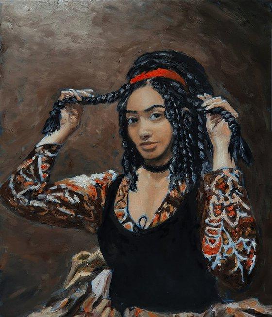 gypsy woman with braids