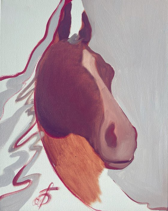"""""""Feeling of a horse"""" painting, small horse portrait, gray small painting, burgundy horse Painting"""