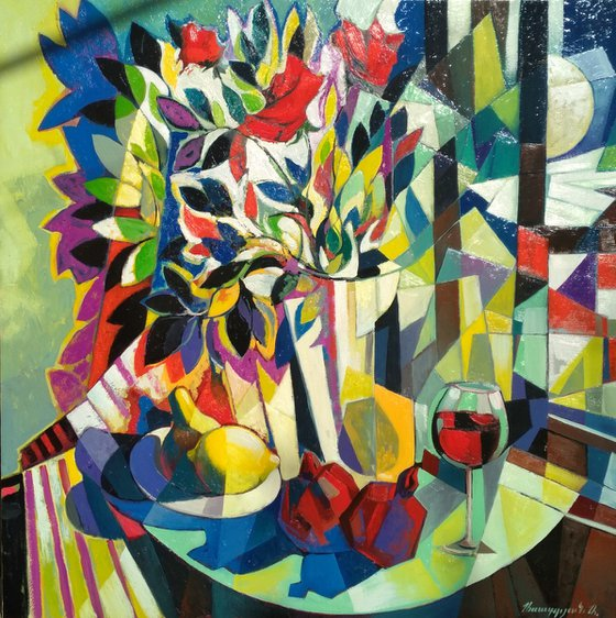Still life with wine and pomegranates (80x80cm, cubism, oil painting, ready to hang)