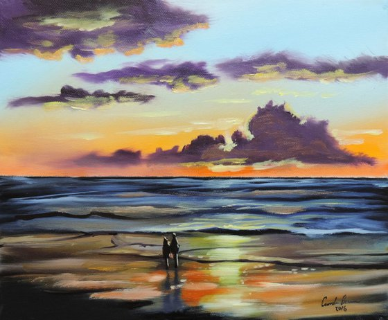 Together for the sunset oil on canvas