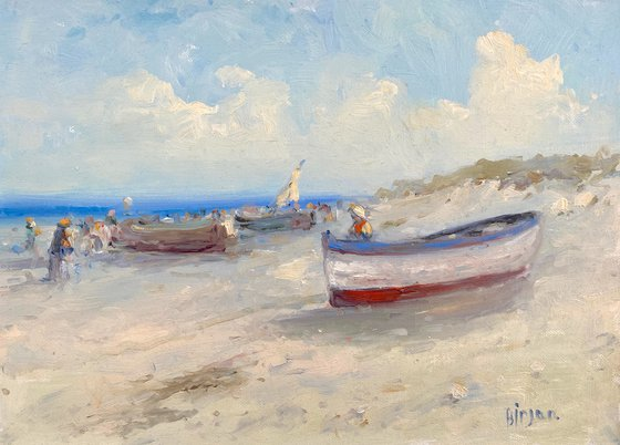 Boats on the Shore, Original oil Painting, Handmade artwork, Signed, One of a Kind