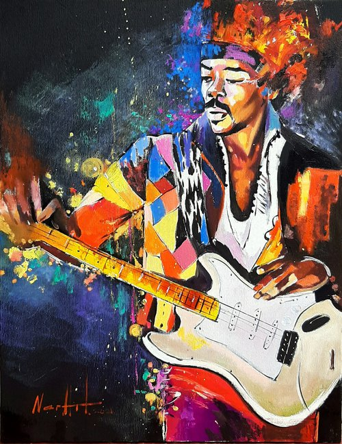 Jimi Hendrix-2 (35x45cm ,oil/canvas, ready to hang, Modern portrait)