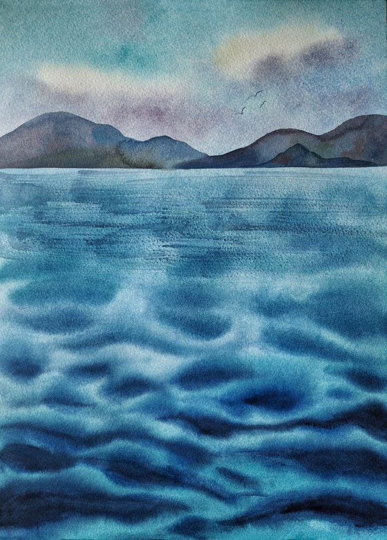 Mediterranean Sea - original minimalistic seascape watercolor