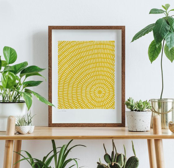 Sonar (Yellow Geometric Linocut Print)