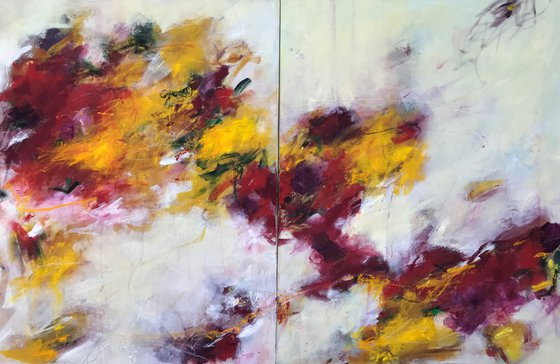 Summer Exuberance  - Large contemporary diptych