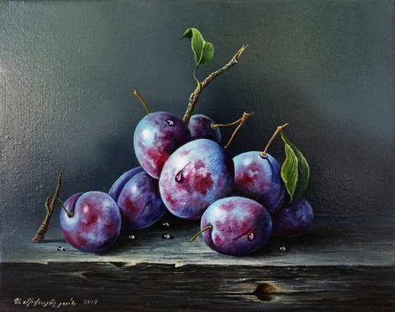 Still life-plums(24x30cm, oil painting, ready to hang)
