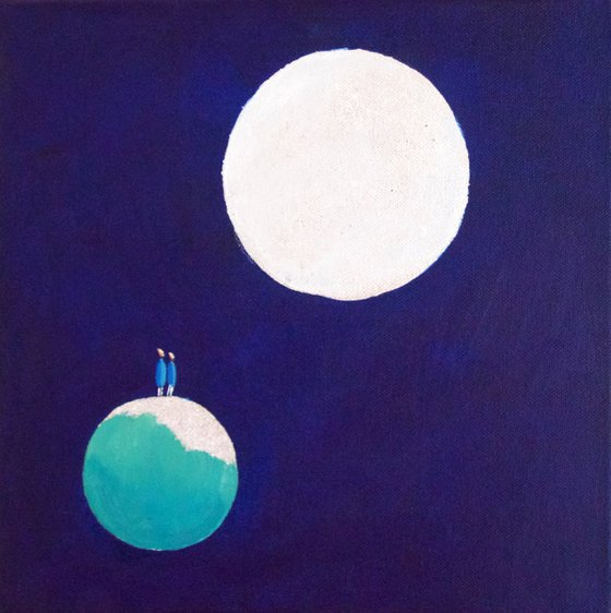 Lovers Moon, ready to hang painting