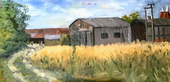 Meeting at the Farm - an original oil painting
