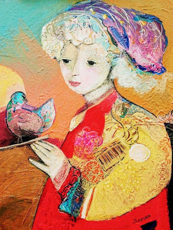 La fille et l''oiseau