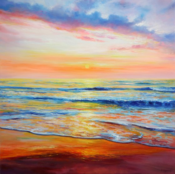 Sunset Seascape - Large seascape oil painting - Ready to hang