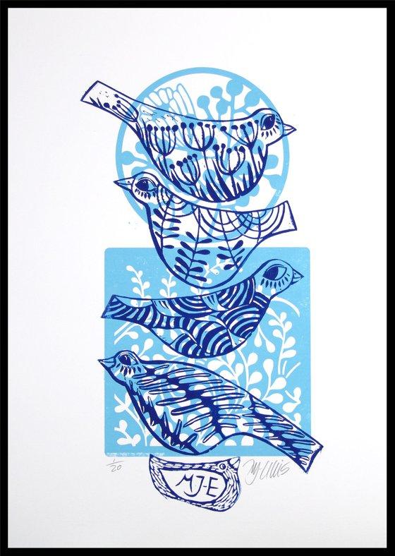 Blue Birds, linocut
