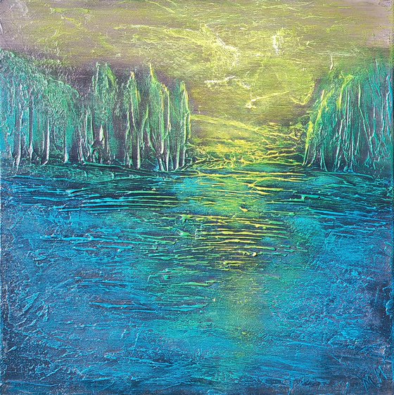 Night (35x35cm size, texture, Modern art )