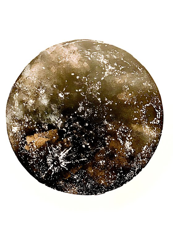 Marbled Moon linocut