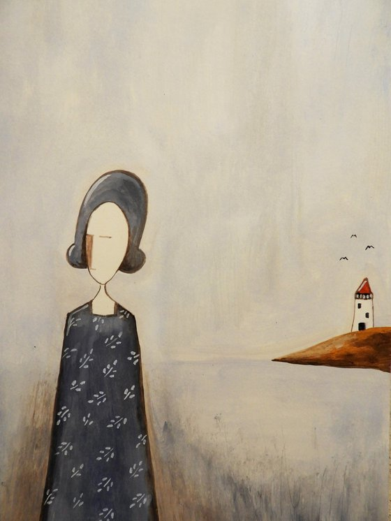 The Lady and the lighthouse - oil on paper