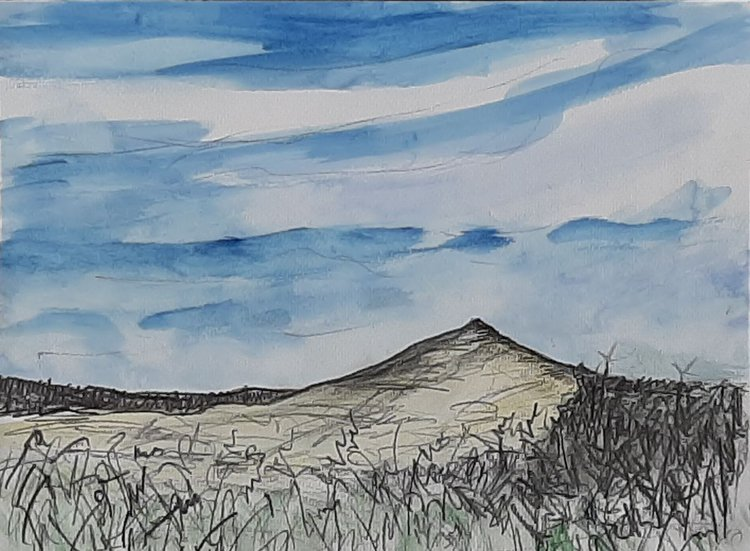 Blue skies over Croghan Mountain Ireland - pencil and watercolour study