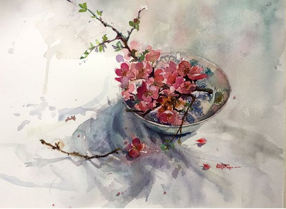 Pink Blossoms and A Bowl
