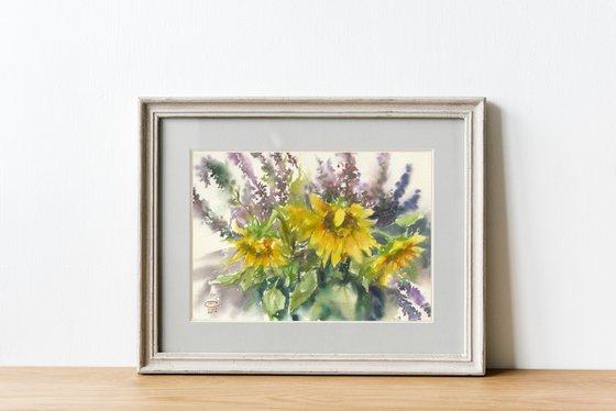 Sunflowers and sage.