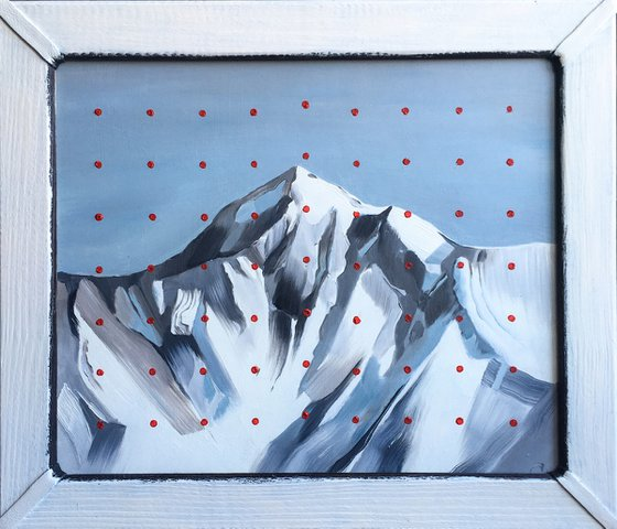 'Mountain and red dots'