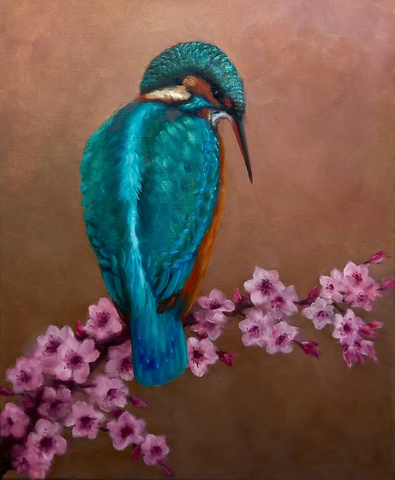 Kingfisher and Blossoms