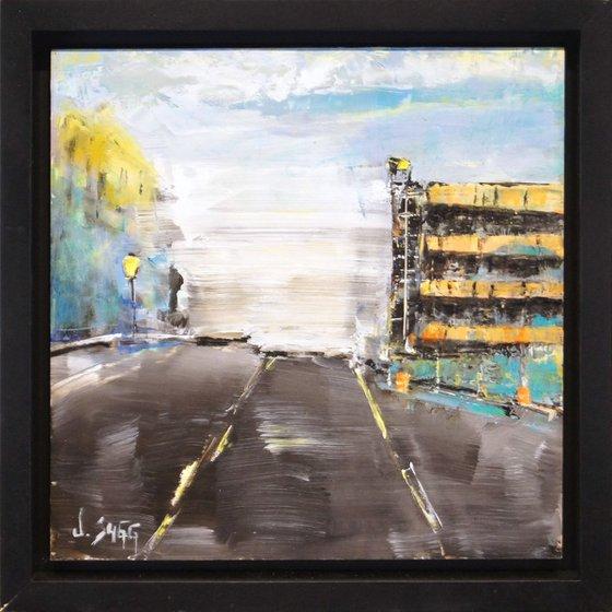 'Orange Garage' - Cityscape Painting Abstract City Art Urban Life Painting Impressionist Art