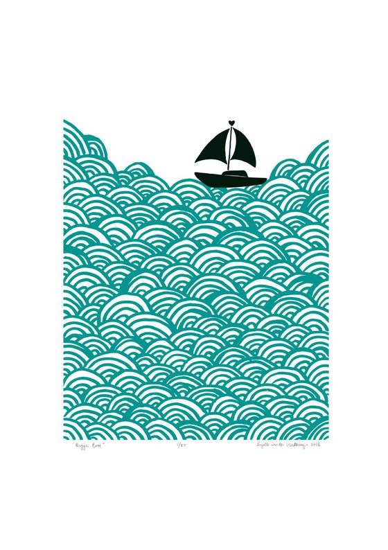 Bigger Boat A2 Size in Green Lagoon - Unframed - FREE Worldwide Delivery