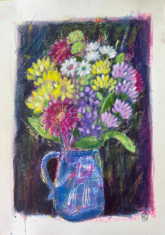 Blue Jug and Flowers