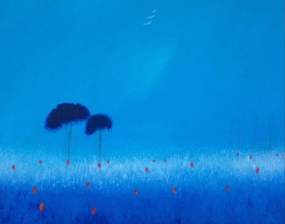 """""""Rosie Blue Haze"""" 50x40x2cm"""