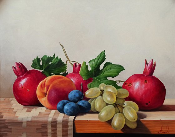 Still life with autumn fruits (40x50cm, oil painting, ready to hang)