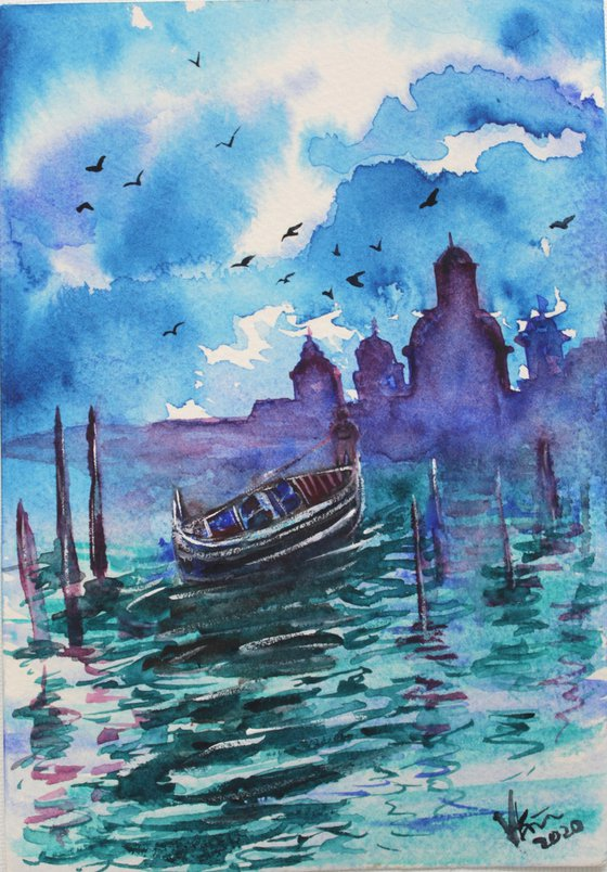 Beautiful Venice in the morning - My First Watercolor painting - Italy - famous places - architecture - gift - city of love