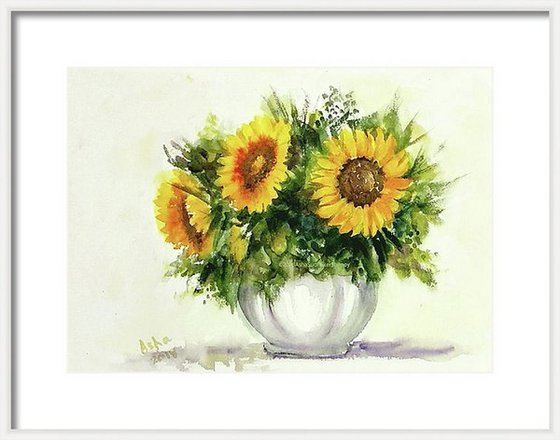 "Van Gogh Vase of Sunflowers Watercolor Floral painting- 10.25""x 14.40"""