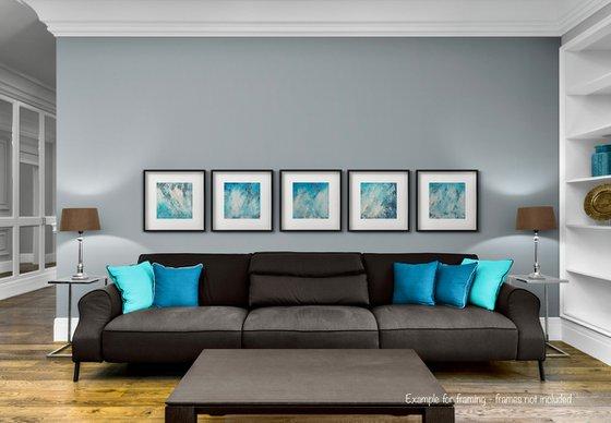 Abstract No. 5321 a blue & white  -set of 5