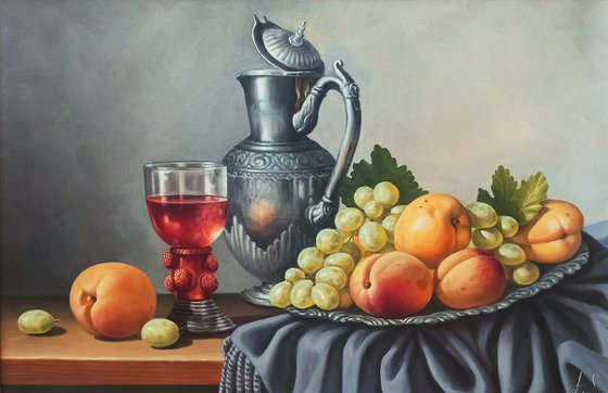 Still life with Armenian fruits (40x60cm, oil painting, ready to hang)